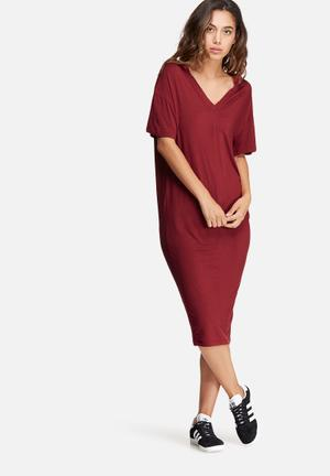 Dailyfriday V-neck Midi Dress With Buttons Casual Burgundy