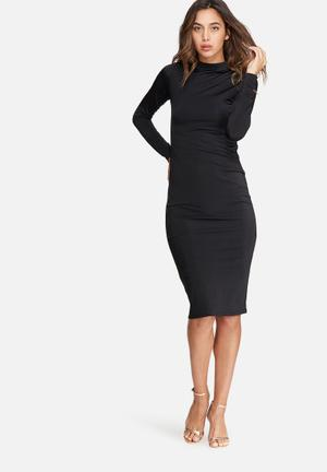 Dailyfriday Slinky Polo Neck Dress Formal Black