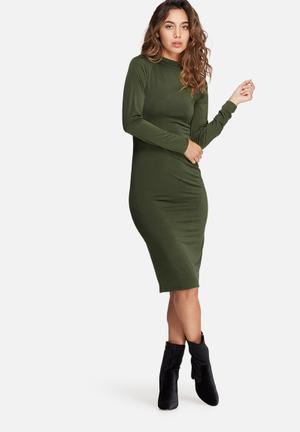 Dailyfriday Slinky Polo Neck Dress Formal Khaki