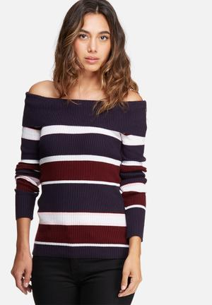 Dailyfriday Off Shoulder Striped Skinny Knit Knitwear Navy, White, Burgundy & Pink