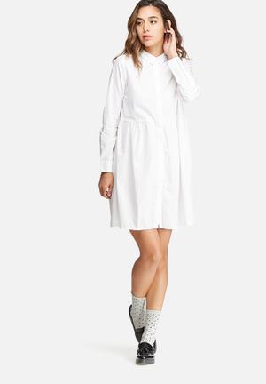 Noisy May Elli Shirt Dress Casual White