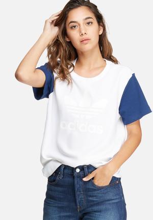 Adidas Originals Boyfriend Trefoil Tee T-Shirts White & Blue