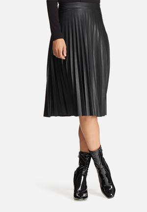 ONLY Pleat PU Skirt Black