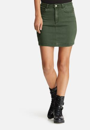 Missguided Superstretch Denim Mini Skirt Khaki
