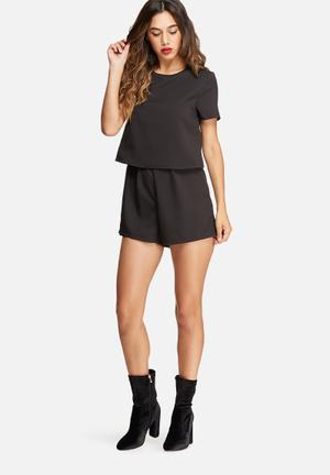 Missguided Crepe Short Sleeve Double Layer Playsuit Black