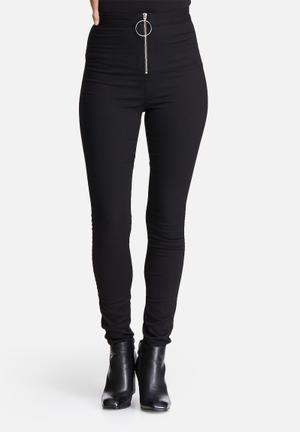 Missguided Vice High Waisted Zip Front Skinny Jeans Black