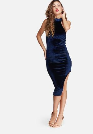 Missguided Velvet High Neck Side Split Midi Dress Occasion Navy