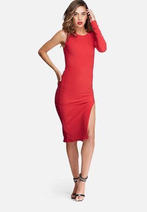 Missguided One Sleeve Split Hem Bodycon Dress Occasion Red