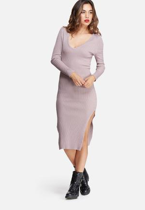 Missguided V Neck Side Split Midi Dress Occasion Lilac