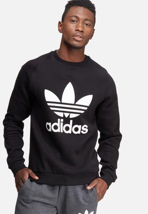 Adidas Originals Trefoil Crew Sweat Hoodies & Sweatshirts Black & White
