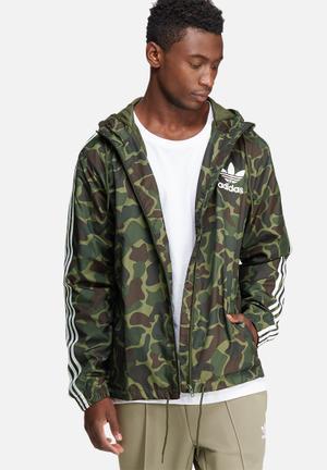 Adidas Originals Camo Windbreaker Hoodies & Sweatshirts Green, Brown & White