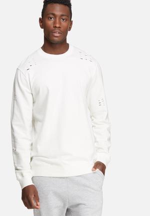 Only & Sons Hole Crew Sweat Hoodies & Sweatshirts White