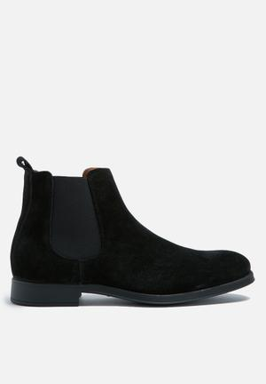 Selected Homme Oliver New Suede Chelsea Boot Black