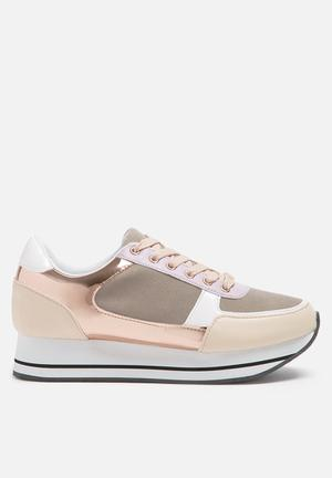 ONLY Smilla Elevated Sneaker Beige, White & Rose Gold