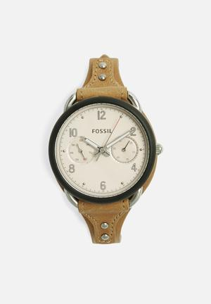 Fossil Tailor Watches Tan, Silver & Black