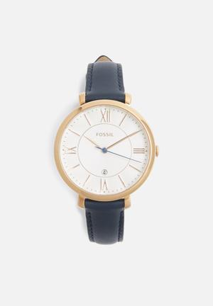 Fossil Jacqueline Watches Navy & Rose Gold