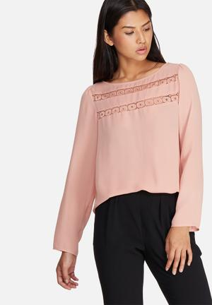 Dailyfriday Lace Inset Blouse Dusty Pink