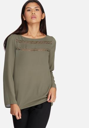Dailyfriday Lace Inset Blouse Olive