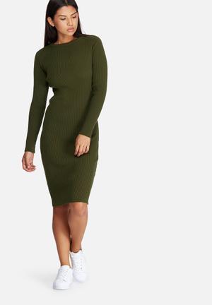 Dailyfriday Ribbed Knitwear Dress Casual Khaki