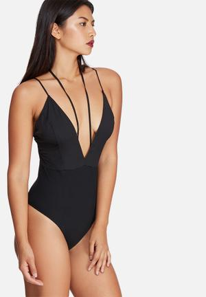 Missguided Silky Strap Detail Bodysuit T-Shirts, Vests & Camis Black