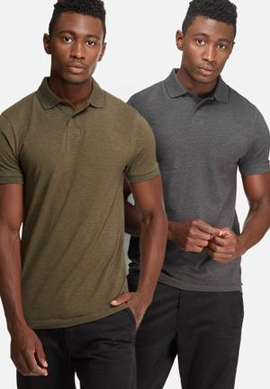 Basicthread 2 Pack Muscle Fit Polo T-Shirts & Vests Grey & Khaki