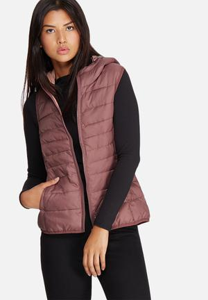 ONLY Tahoe Hooded Sleeveless Jacket Dusty Pink