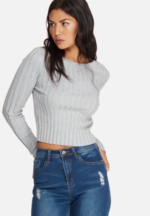 Missguided Extreme Rib Basic Crop Jumper Knitwear Grey