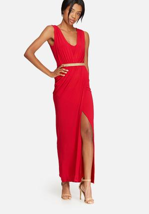 Dailyfriday V-neck Wrap Dress Occasion Red