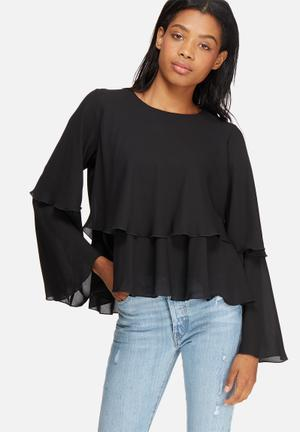 Dailyfriday Tiered Frill Blouse Black