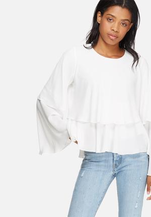 Dailyfriday Tiered Frill Blouse White