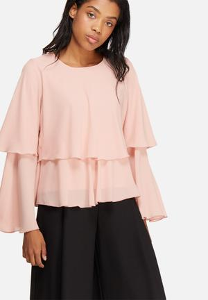 Dailyfriday Tiered Frill Blouse Pink