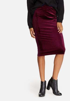 Dailyfriday Velvet Pencil Skirt Burgundy