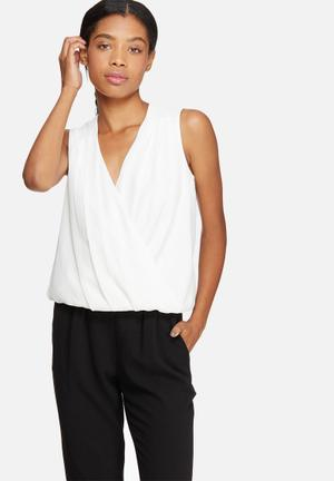 ONLY Tinsy Wrap Top Blouses White