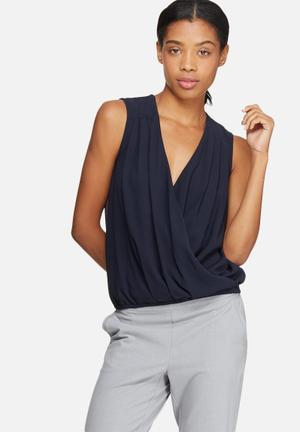 ONLY Tinsy Wrap Top Blouses Navy