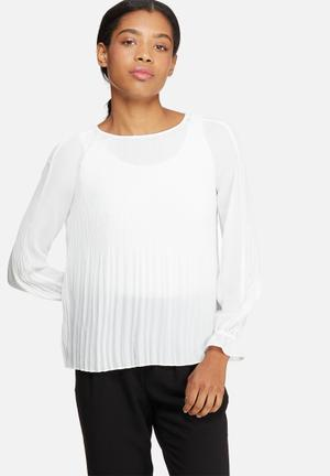 ONLY Cherry Pleat Top Blouses White