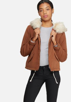 ONLY Skylar Fur Parka Jackets Brown