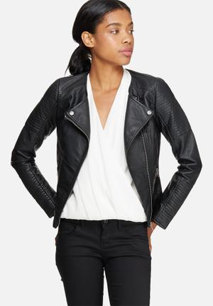 ONLY Carly PU Leather Jacket Black