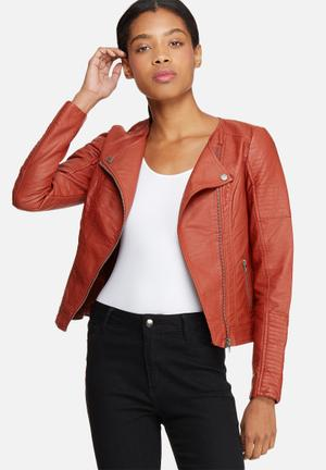 ONLY Carly PU Leather Jacket Burnt Orange