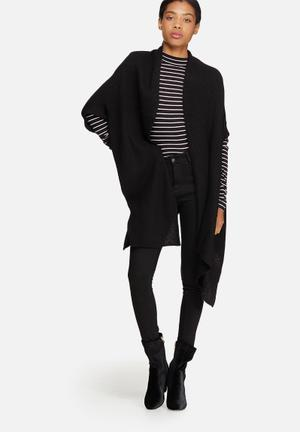 ONLY Torino Open Poncho Knitwear Black
