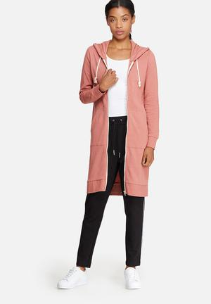 ONLY Jane Long Zip Hooded Sweat Hoodies & Jackets Pink