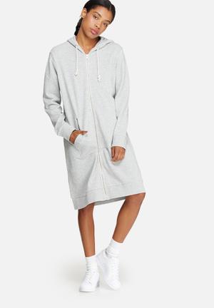 ONLY Jane Long Zip Hooded Sweat Hoodies & Jackets Grey