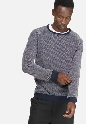 Selected Homme Jeppe Crew Knit Knitwear Navy & White