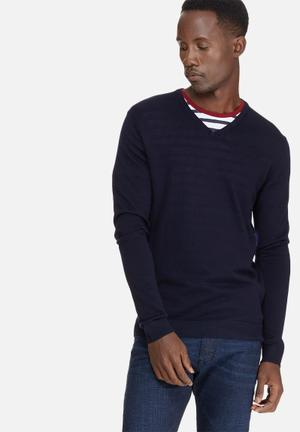 Selected Homme Tower Merino V-neck Knitwear Navy