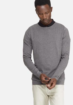 Selected Homme Sebaus Crew Neck Knitwear Grey