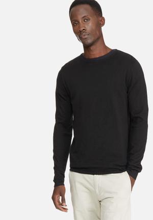 Selected Homme Sebaus Crew Neck Knitwear Black