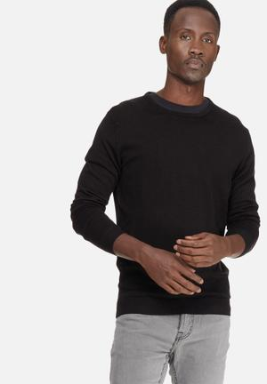 Selected Homme Tower Merino Crew Neck Knitwear Black