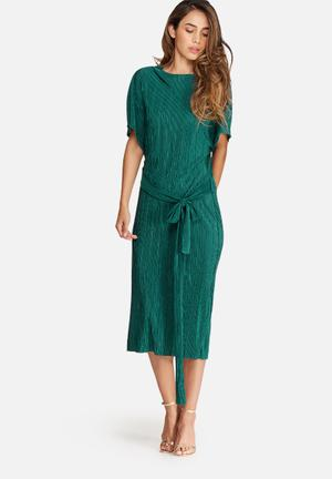 Dailyfriday Plissé Midi Dress With Tie Belt Formal Green