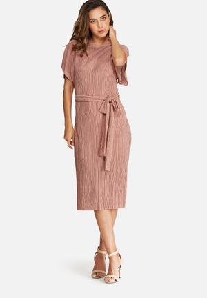 Dailyfriday Plissé Midi Dress With Tie Belt Formal Pink