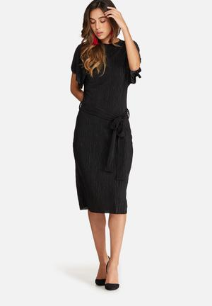 Dailyfriday Plissé Midi Dress With Tie Belt Formal Black