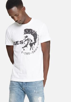 Diesel  T-ulee Tee T-Shirts & Vests White & Black